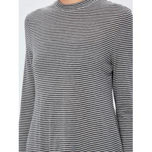 High Slit Pinstriped Tee -