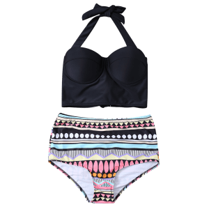 Halter Push Up High Waist Retro Bikini - BLACK XL