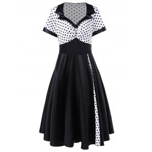 Plus Size Polka Dot Panel Vintage Swing Dress - White And Black - 5xl