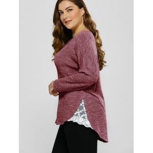 Plus Size Lace Trim Drop Shoulder T-Shirt