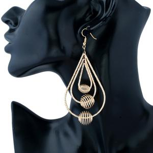 Spiral Beads Layered Hollowed Drop Earrings - Golden