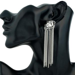 Chain Tassel Lion Drop Earrings