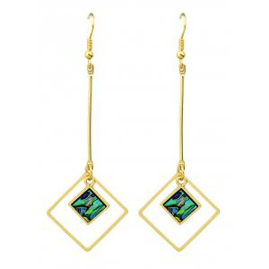 Vintage Faux Gem Square Drop Earrings - Golden - One-size