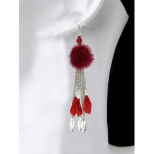 Fuzzy Ball Feather Drop Earrings -