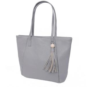 Tassel Faux Leather Shoulder Bag - GRAY