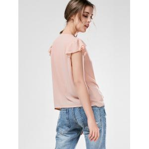 Beaded Flounced Chiffon Blouse - NUDE PINK S