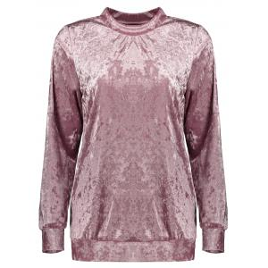 Mock Neck Velvet Sweatshirt - Deep Pink - Xl