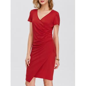 Drape Asymmetrical V Neck Dress With Short Sleeves - Red - S