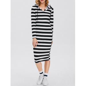 Midi Striped Long Sleeve Hooded Dress