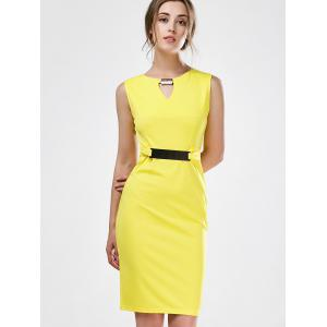 Keyhole Sleeveless Mini Sheath Work Dress -