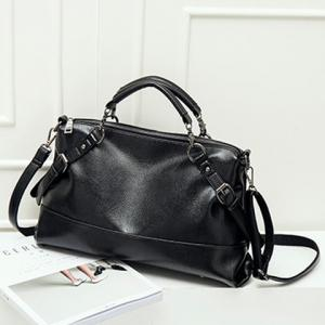 Straps Faux Leather Crossbody Tote Bag - Black