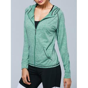 Zip Up Hooded Running Jacket - Light Green - M