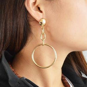 Alloy Hollow Hoop Pendant Earrings - Golden