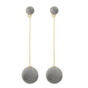 Pendant Earrings with Small Pom Ball