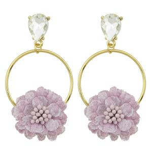 Hollow Hoop Pendant Earrings with Flower