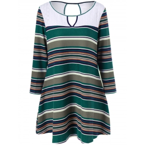 Plus Size Keyhole Striped Longline T-Shirt