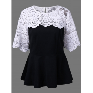 Plus Size Lace Insert Peplum Top - White And Black - 2xl