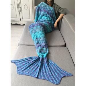 Crochet Fish Scale Design Ombre Wrap Mermaid Blanket - Colormix - S