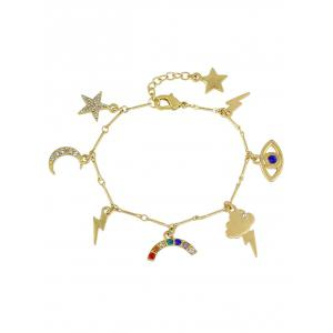 Rhinestone Moon Star Lightning Eye Charm Bracelet - Golden - 8