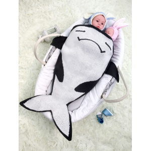 Cartoon Fish Shape Knitted Unisex Baby Blankets - Black White - W59 Inch*l51 Inch