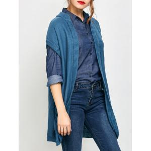 Short Sleeve Long Knit Cardigan with Pockets - Blue - S