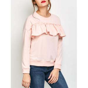 Jewel Neck Ruffles Sweatshirt - Pink - S