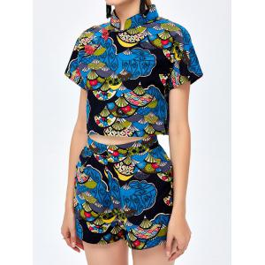 Print Shorts with Qipao Crop Top - BLUE ONE SIZE