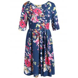 Retro Backless High Waist Floral Dress