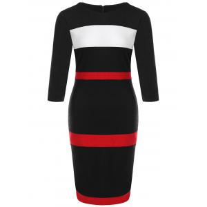 Color Block Fitted Sheath Dress