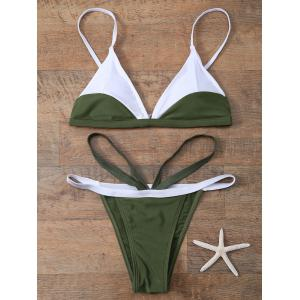 Plunging Neck Color Block String Bathing Suit
