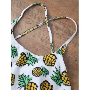 Pineapple Print Frilled Cute One Piece Bathing Suit - WHITE XL