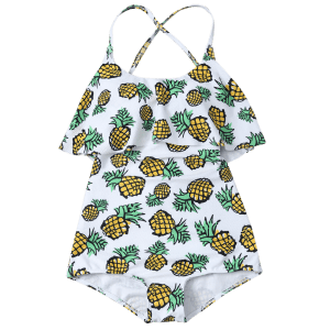 Pineapple Print Frilled Cute One Piece Bathing Suit - WHITE L