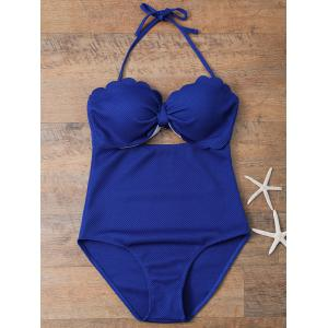 High Rise Halter Bow Swimsuit - Sapphire Blue - M