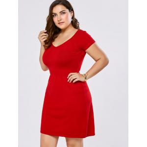 Plus Size V Neck Mini Sweater Dress -