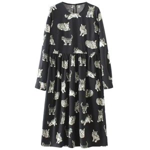 Long Sleeve Kittens Animal Printed Day Dress