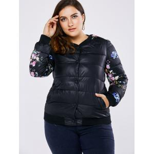 Plus Size Floral Quilted Coat -