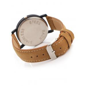 Faux Leather Band Analog Quartz Watch - BROWN