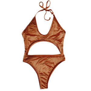 Halter Cut Out Velvet One-Piece Swimwear - GOLD BROWN L