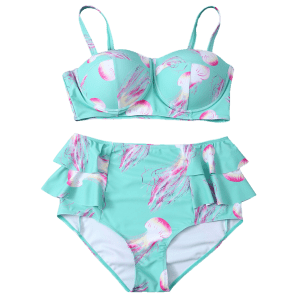 Cami High Waisted Flounced Push Up Bikini Set -