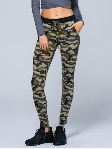 Button Decorated Camouflage Pencil Pants - Army Green Camouflage - M