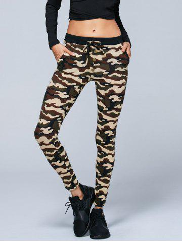 Buy Button Decorated Camouflage Pencil Pants - XL