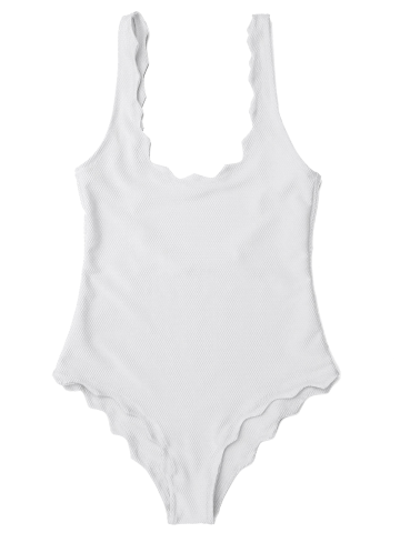 Chic Low Back Scalloped One Piece Bathing Suit WHITE M