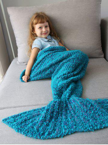 Chic Home Decor Crochet Knitted Imitation Shearling Mermaid Blanket Throw For Kids OASIS