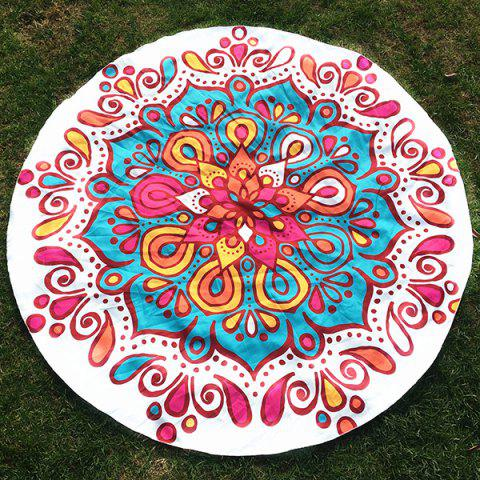 Fancy Colorful Waterdrop Flower Printed Round Beach Throw WHITE ONE SIZE