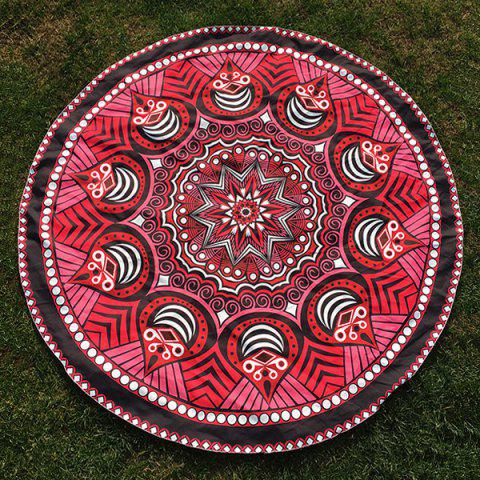Round Beach Throw with Tribal Chevron Totem Printed - Red - One Size