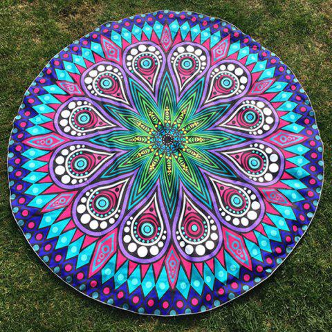 Outfit Round Beach Throw with Crystal Flower Paisley Printed