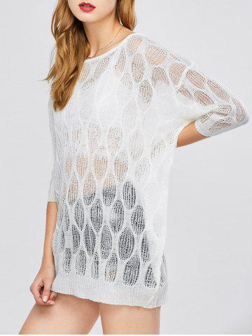 Batwing Sleeve Sheer Tunic Beach Cover-Up - White - One Size