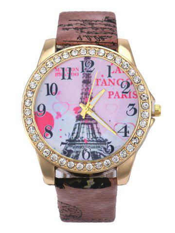 Faux Leather Band Eiffel Tower Quartz Watch - Brown
