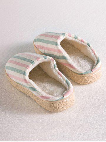 Shops Sweet Color Striped Indoor Slippers - SIZE(38-39) PINK Mobile
