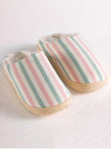 Shops Sweet Color Striped Indoor Slippers - SIZE(40-41) PINK Mobile